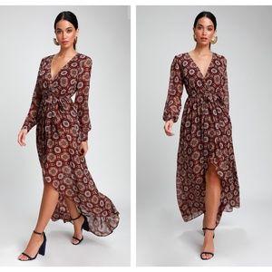 LULUS Art & Soul Burgundy Boho Dress {2C27}